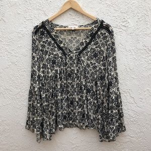 Anthropologie Ari + Ali Bell Sleeve Paisley Blouse